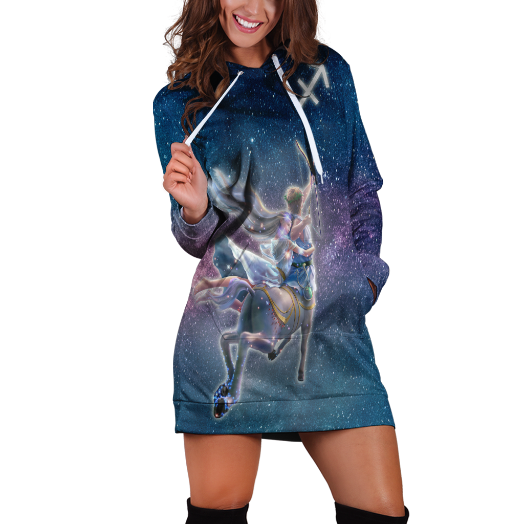 Sagittarius Galaxy Hoodie Dress Xs