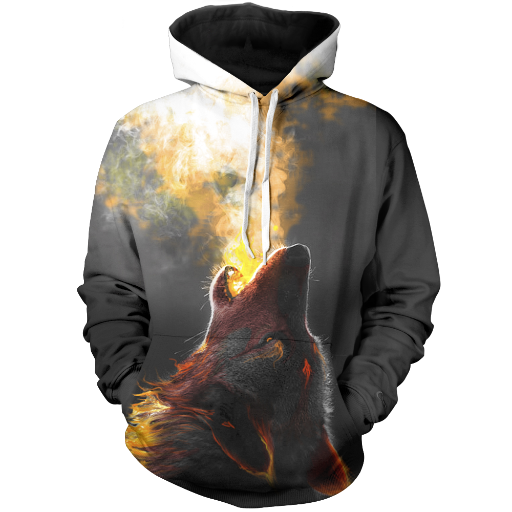 Wolf Breathing Fire Unisex Pullover Hoodie