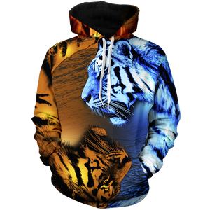 Yin Yang Fire Ice Tiger Unisex Pullover Hoodie Epic Imprint