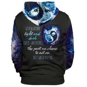 Yin Yang Light & Darkness Wolf Unisex Pullover Hoodie