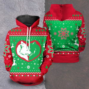 Yuletide Wolf Mates Unisex Pullover Hoodie S