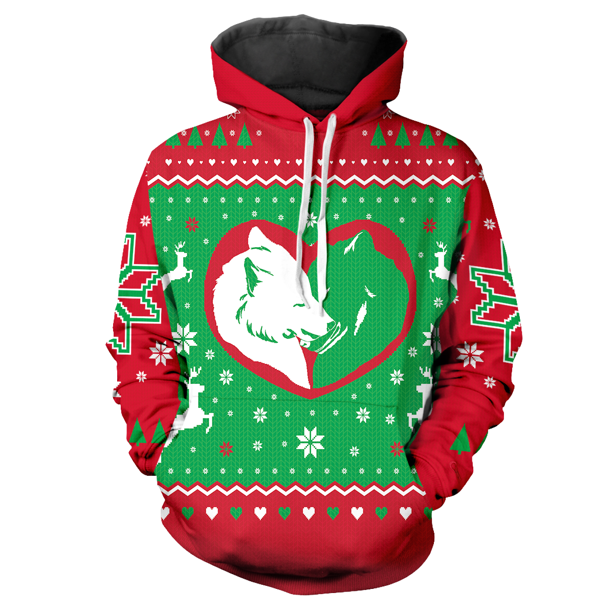 Yuletide Wolf Mates Unisex Pullover Hoodie