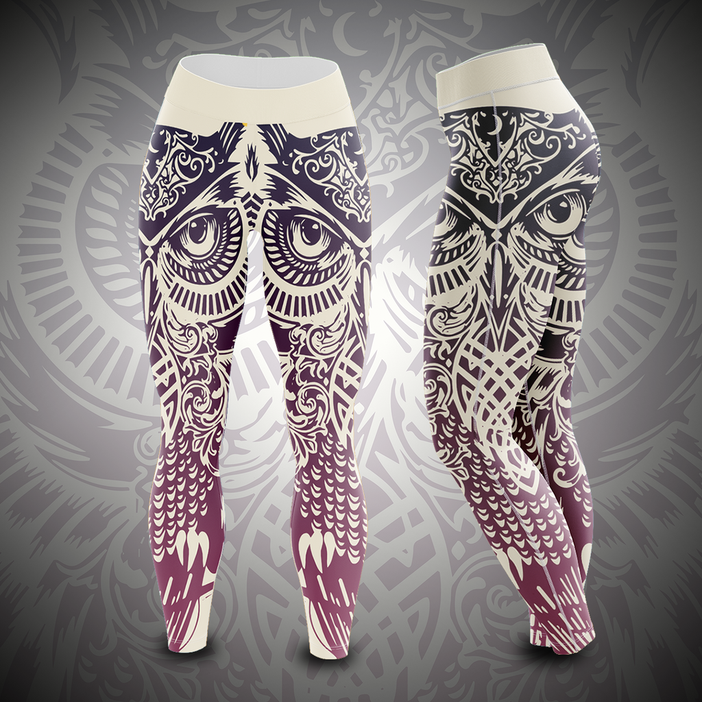 Tribal Owl Unisex Tights S Leggings
