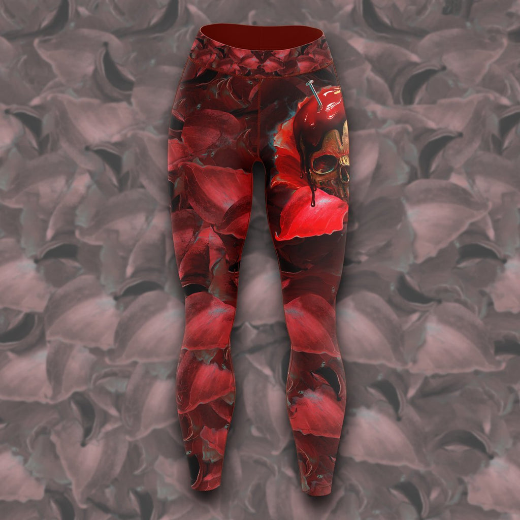 Skull In Red Unisex Tights S Leggings