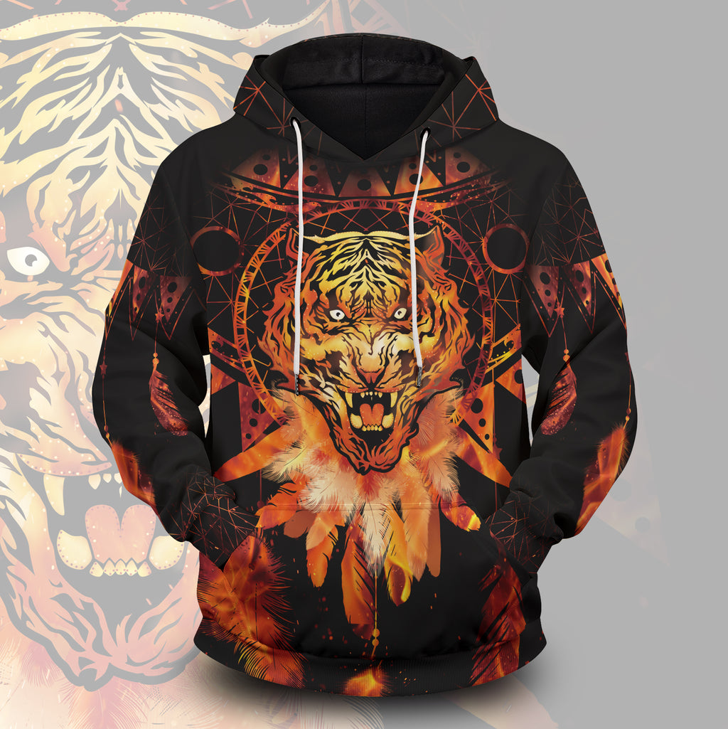 Blazing Tiger Dream Catcher Unisex Pullover Hoodie