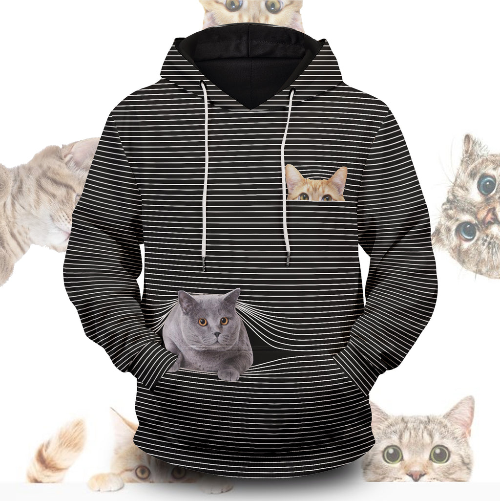 Cat Hide And Seek Unisex Pullover Hoodie