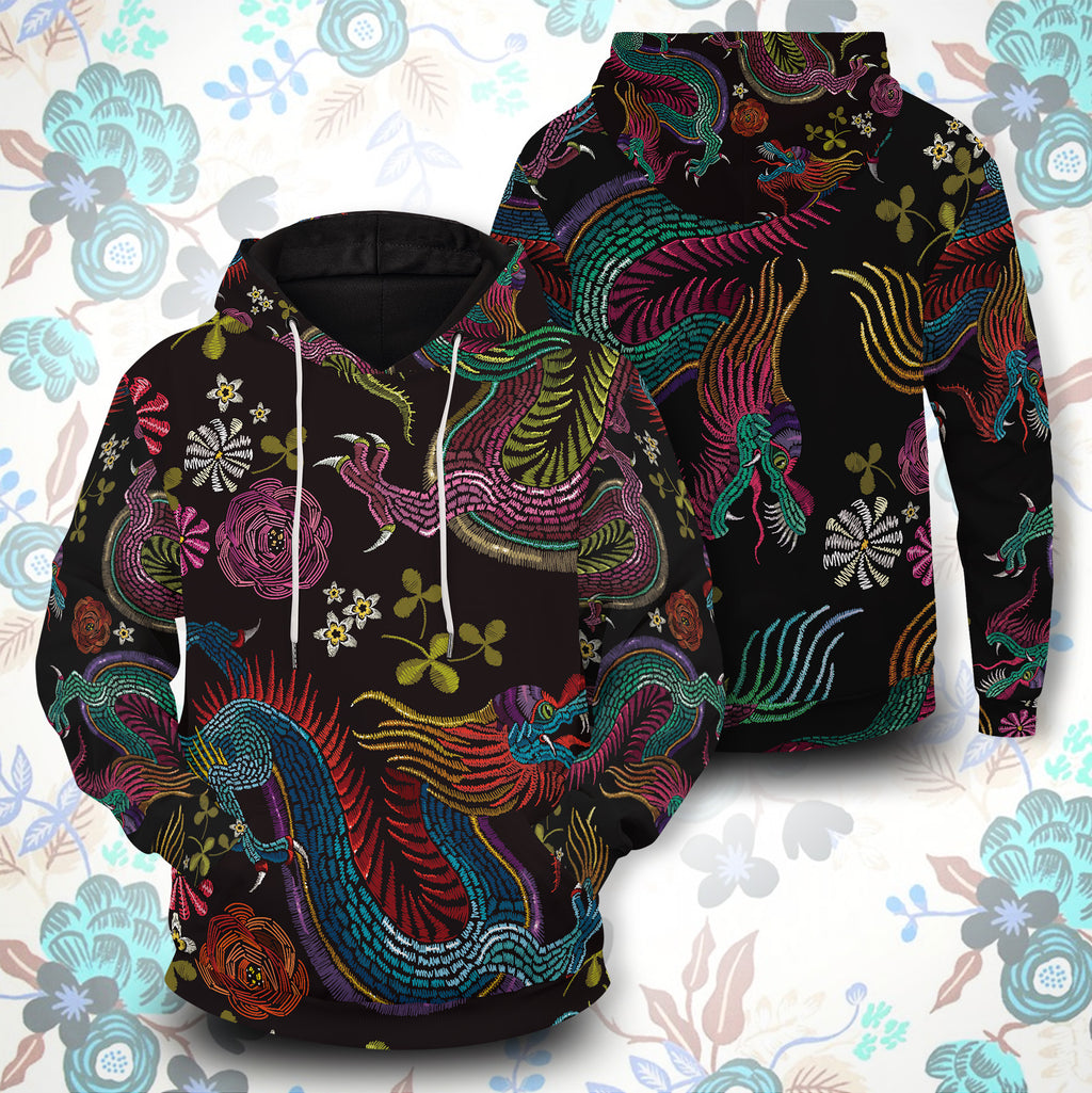 Floral Dragon Unisex Pullover Hoodie
