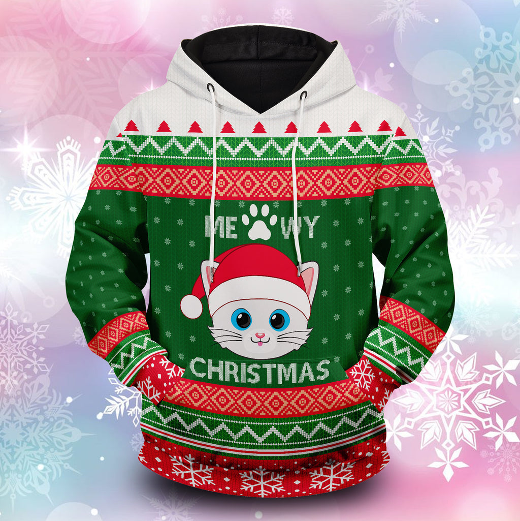 Meowy Christmas Unisex Pullover Hoodie