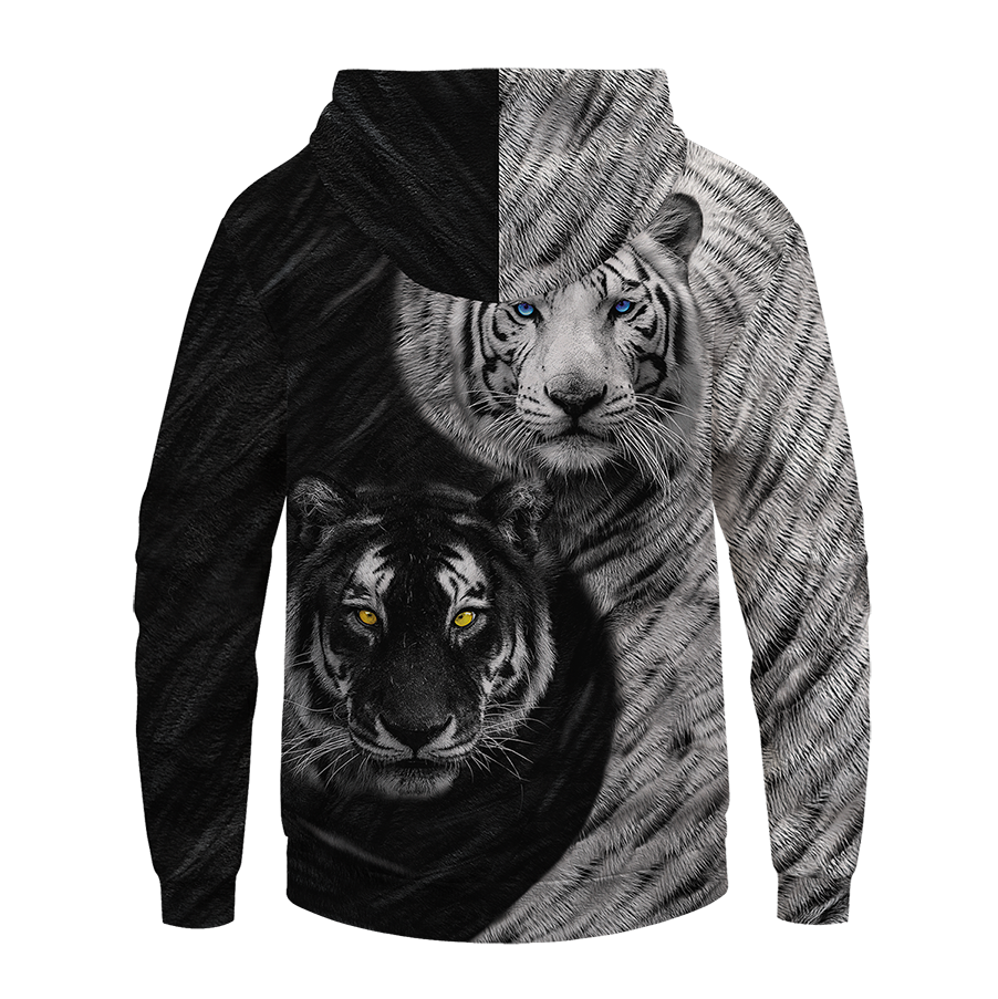Yin Yang Tiger Unisex Pullover Hoodie