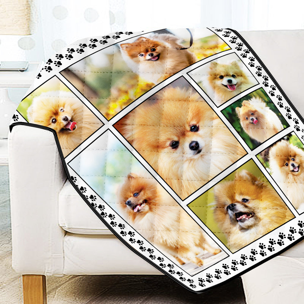 Pomeranian Dog Lovers Quilt Blanket