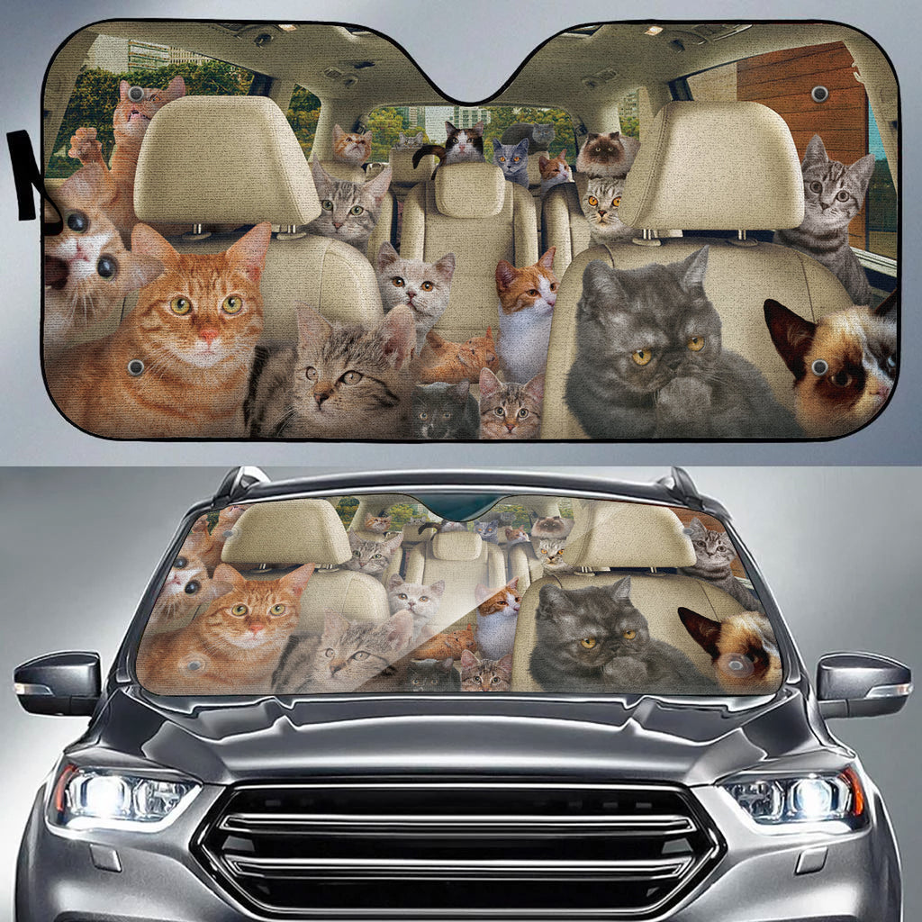 Cat-filled Auto Sun Shade