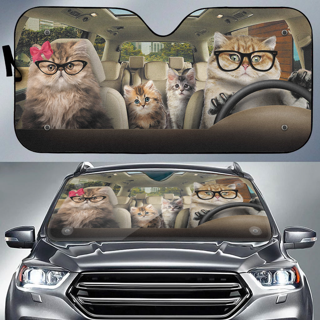 Cat Family Auto Sun Shade