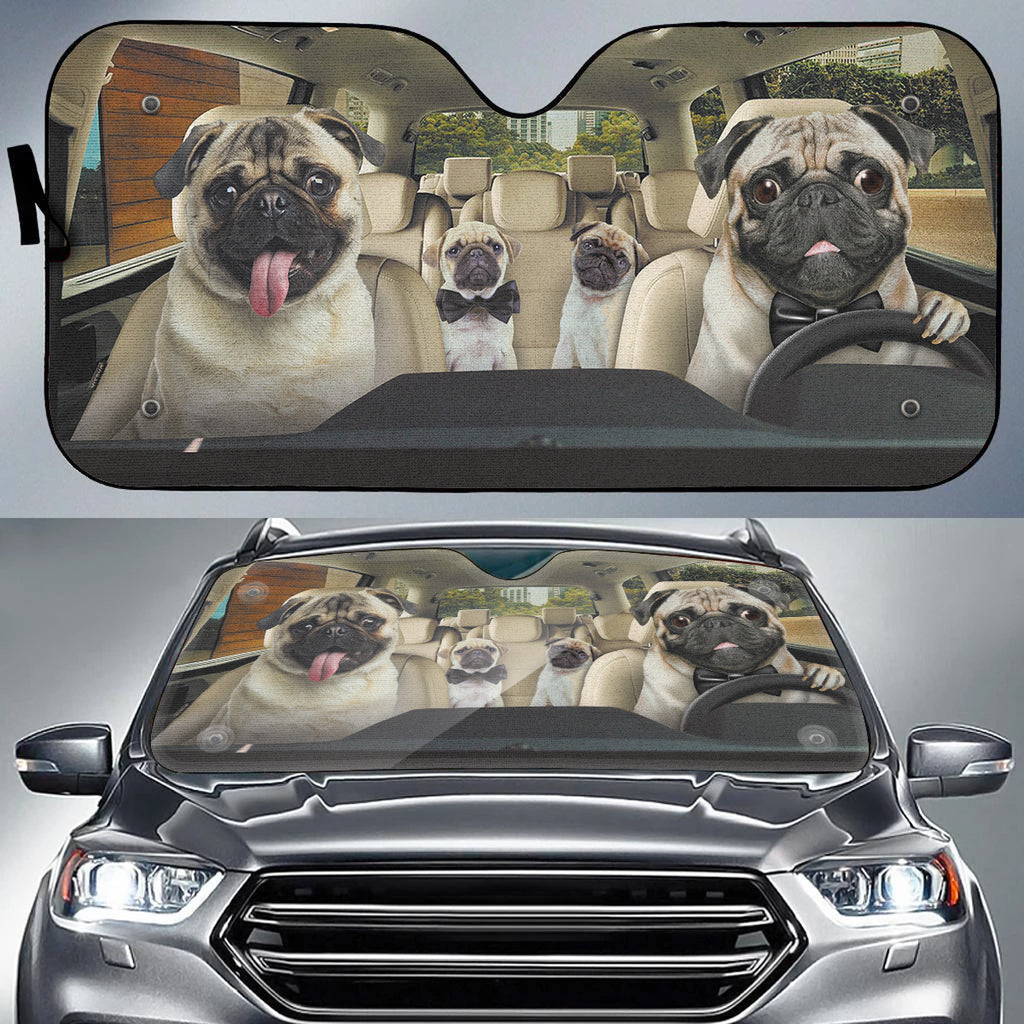 Dog Family Trip V1 Auto Sun Shade