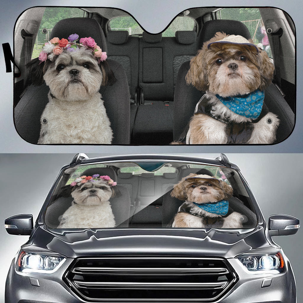 Shih Tzu Cute Couple Auto Sun Shade