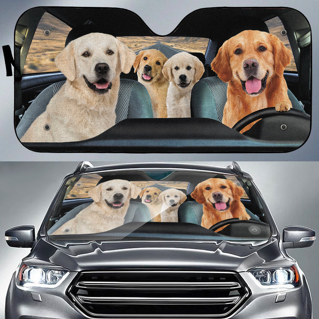 Dog Family Trip V2 Auto Sun Shade