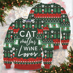 Cat Mother Wine Lover Unisex Sweater
