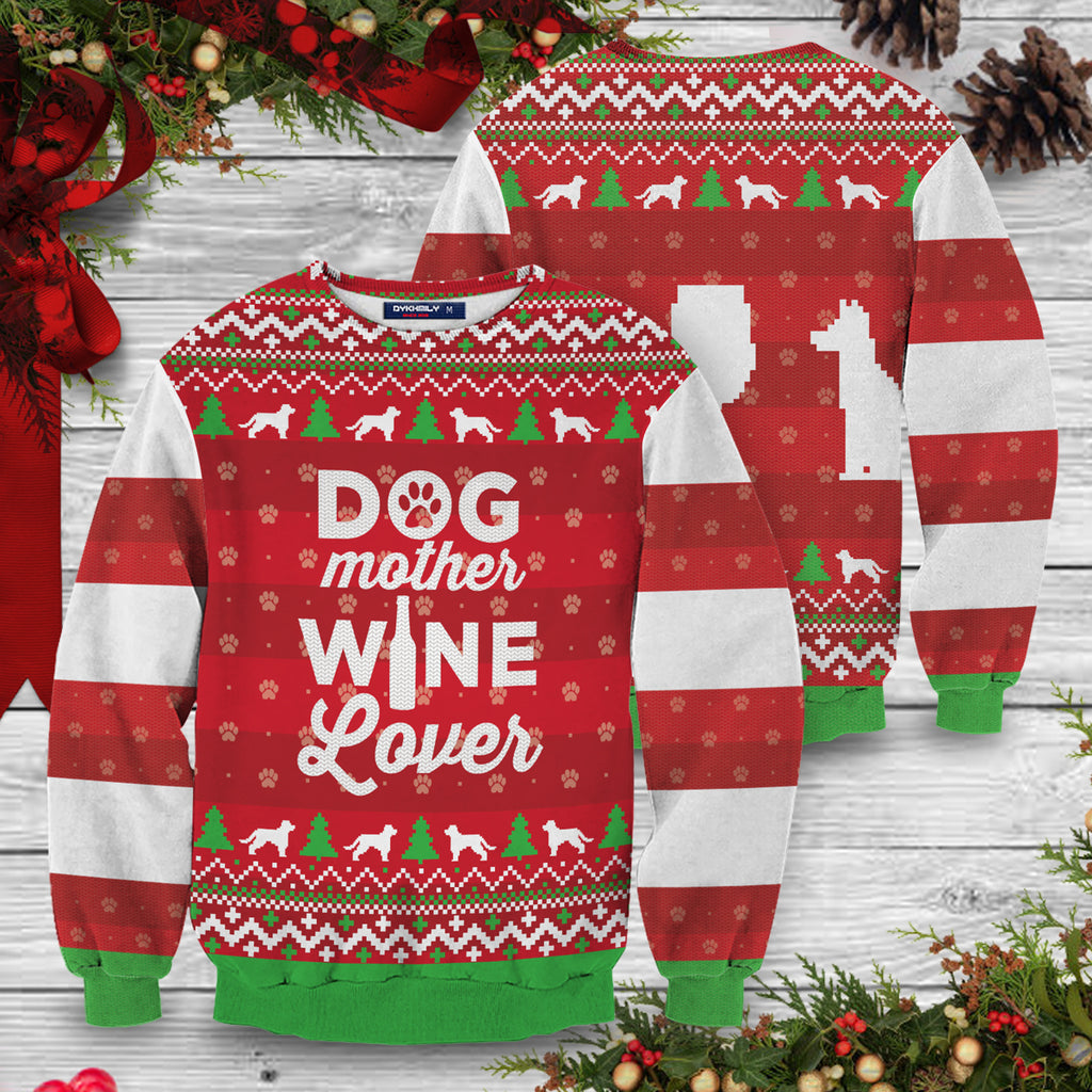 Dog Mother Wine Lover Unisex Sweater