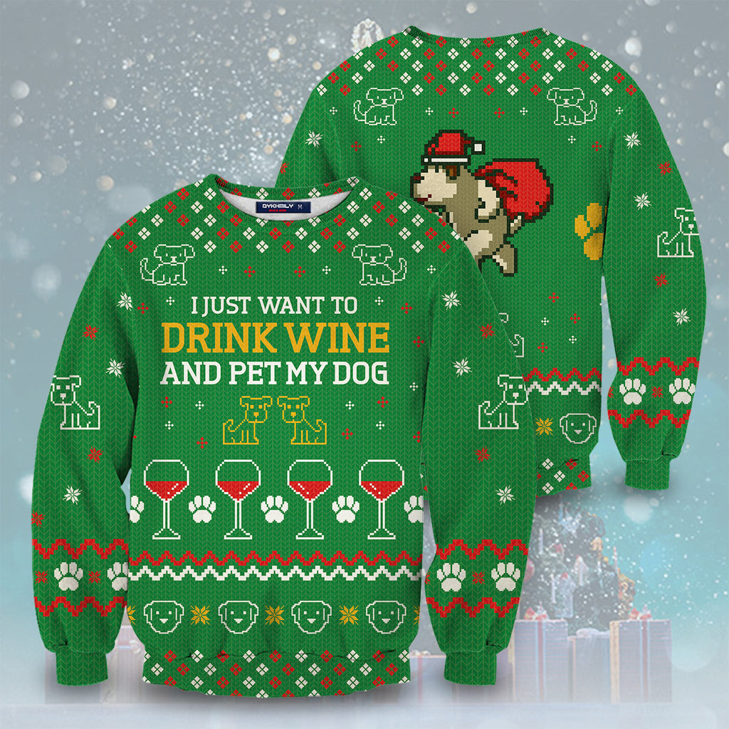 Dog And Wine Christmas Unisex Sweater