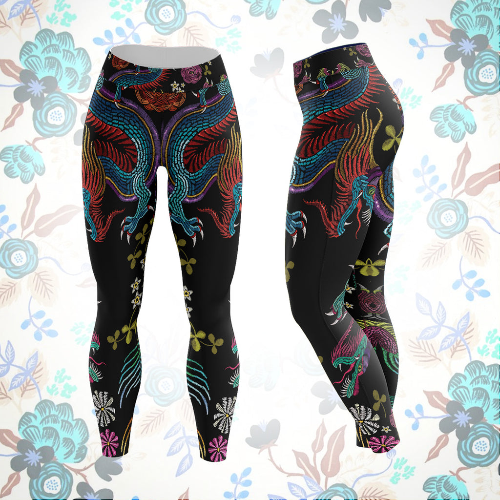 Floral Dragon Unisex Tights