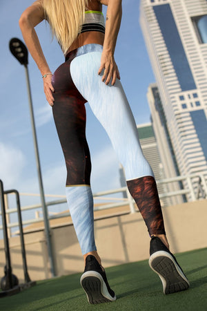 Yin Yang Fire Ice Wolves Unisex Tights - Version 2 Leggings