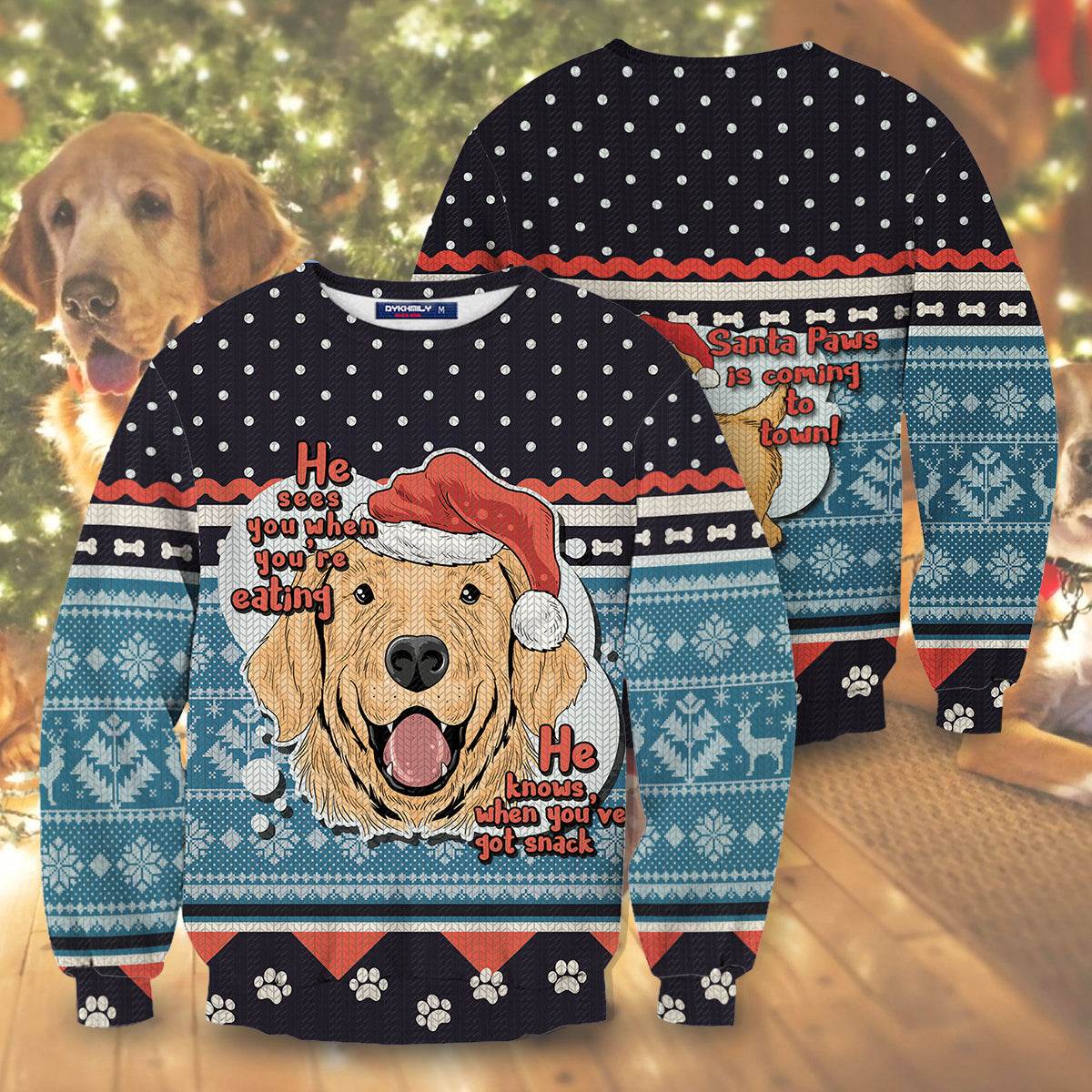 Santa Paws Is Coming To Town Unisex Sweater