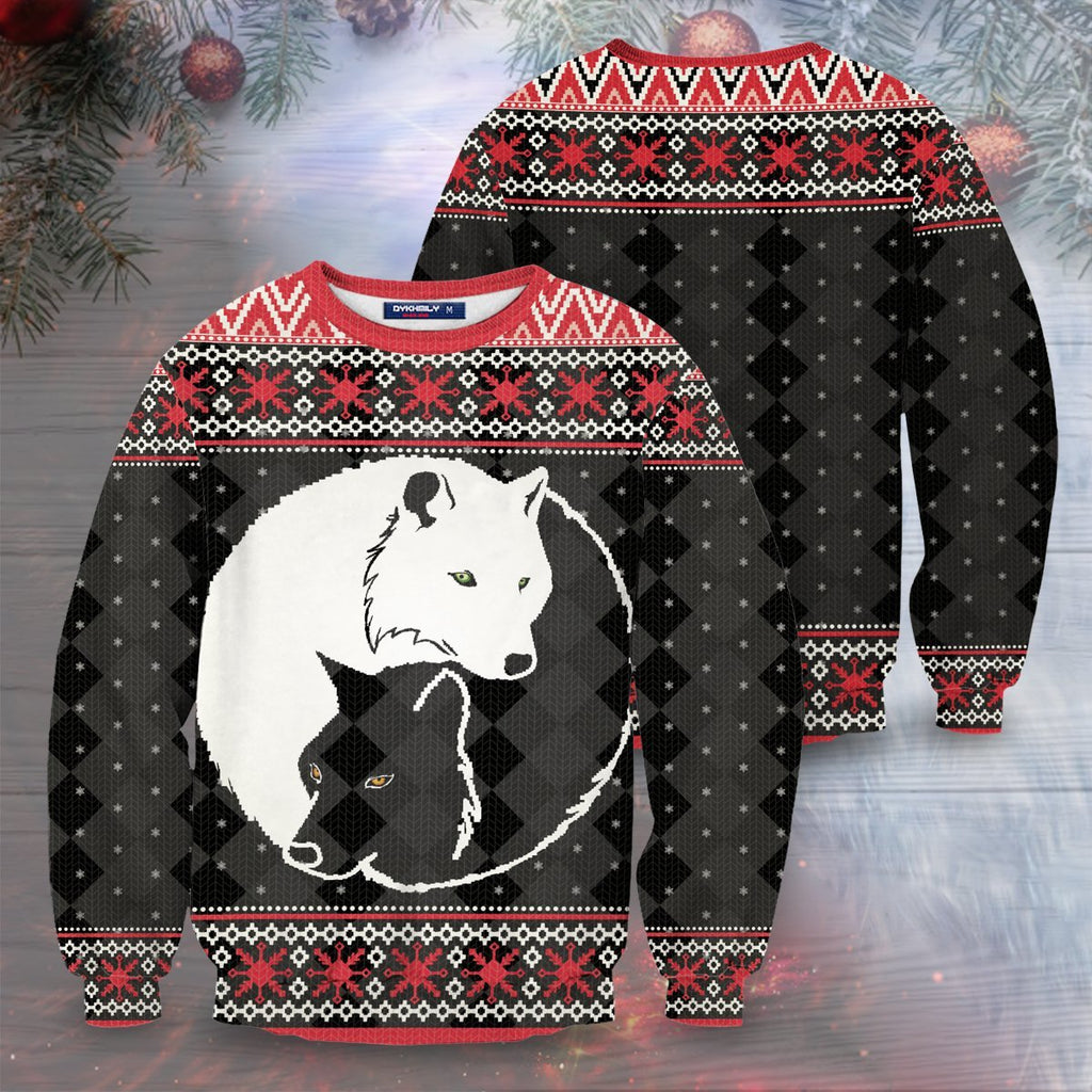 Yin Yang Holiday Wolves Unisex Sweater S Sweatshirt