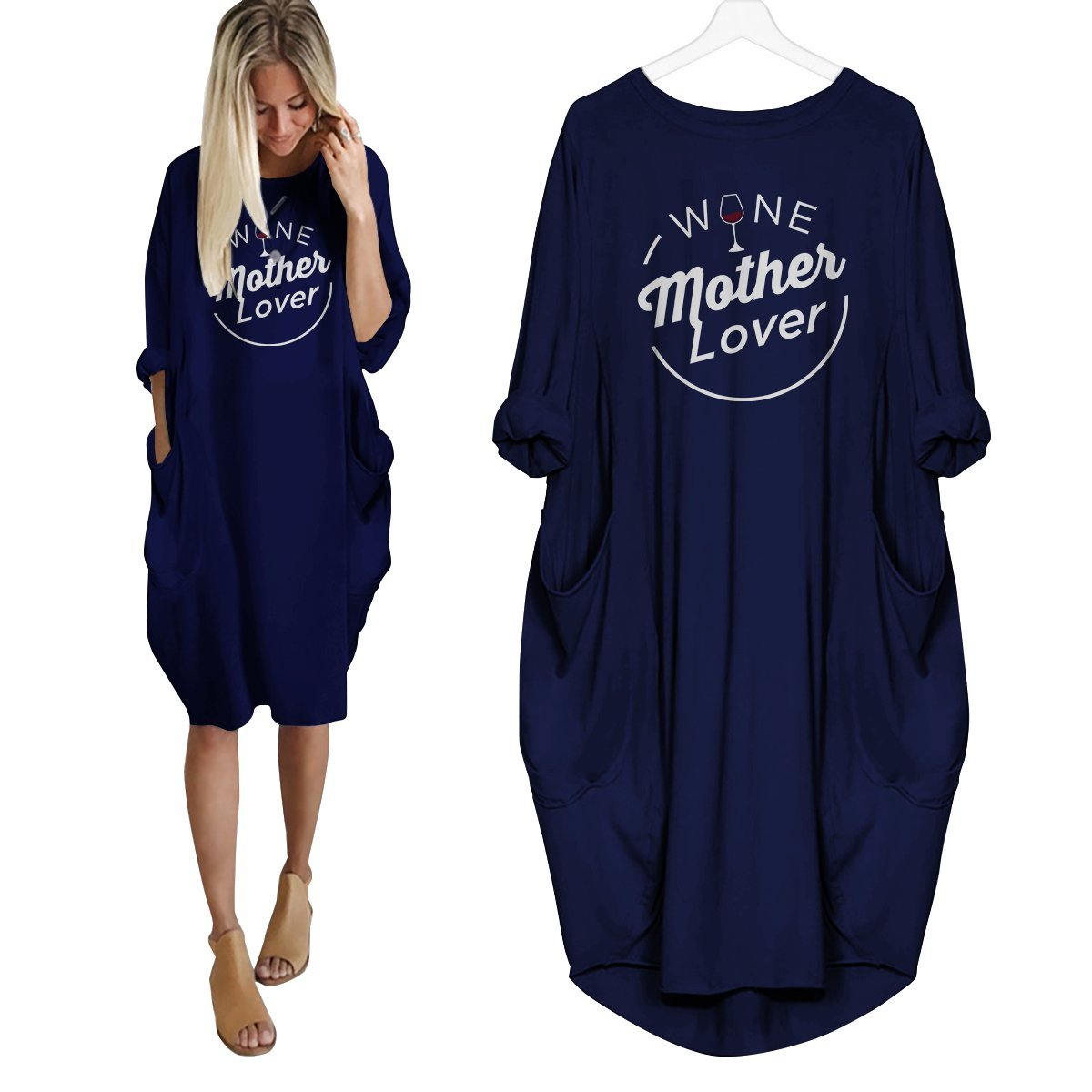 Wine Mother Lover Dress Navy Blue / S