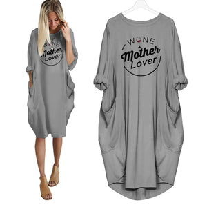 Wine Mother Lover Dress Grey / S