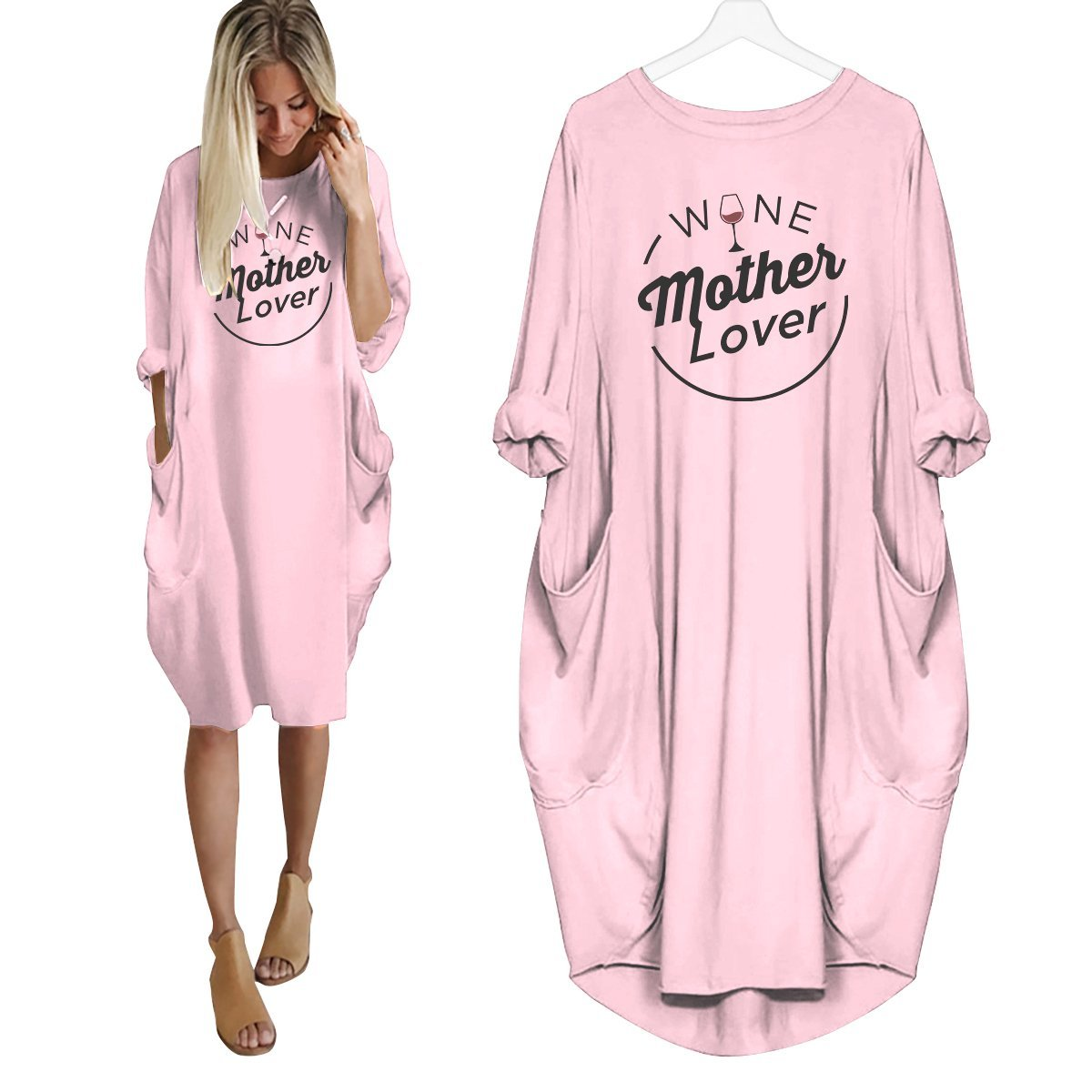 Wine Mother Lover Dress Pink / S
