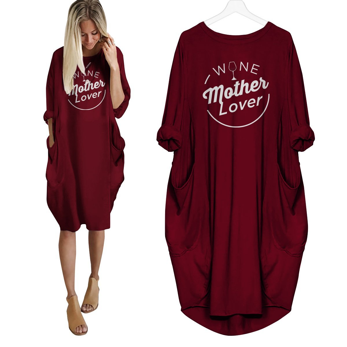 Wine Mother Lover Dress Red / S