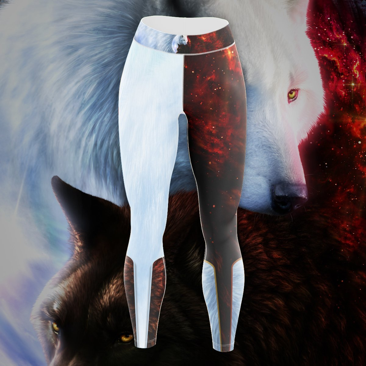 Yin Yang Fire Ice Wolves Unisex Tights - Version 2 S Leggings