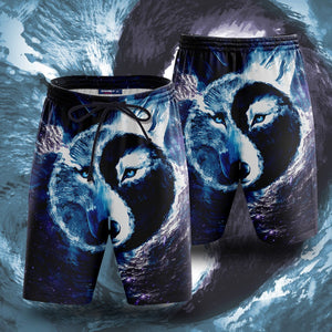 Yin Yang Light And Darkness Wolf - V2 Beach Shorts S Short