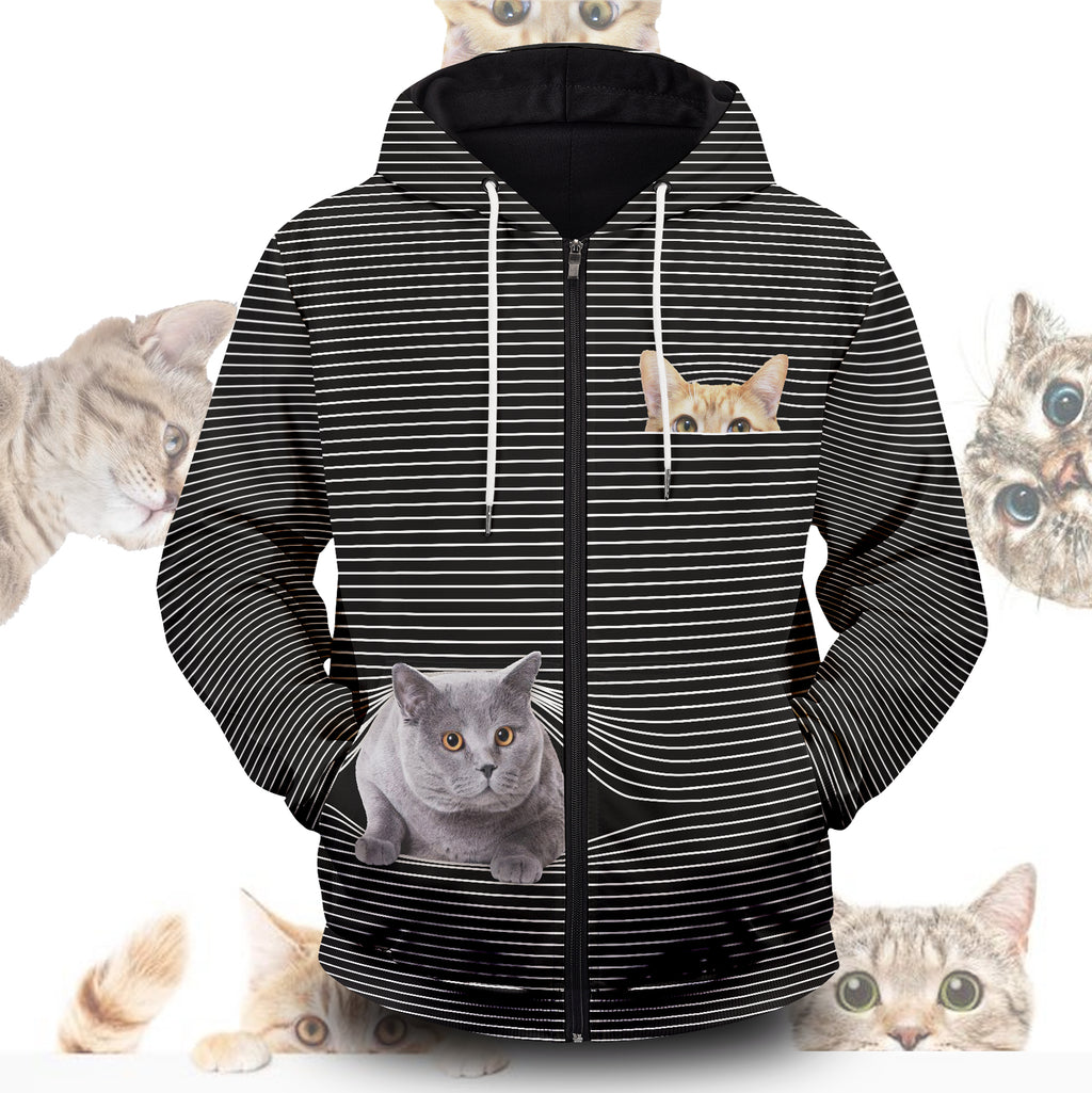 Cat Hide And Seek Unisex Zipped Hoodie