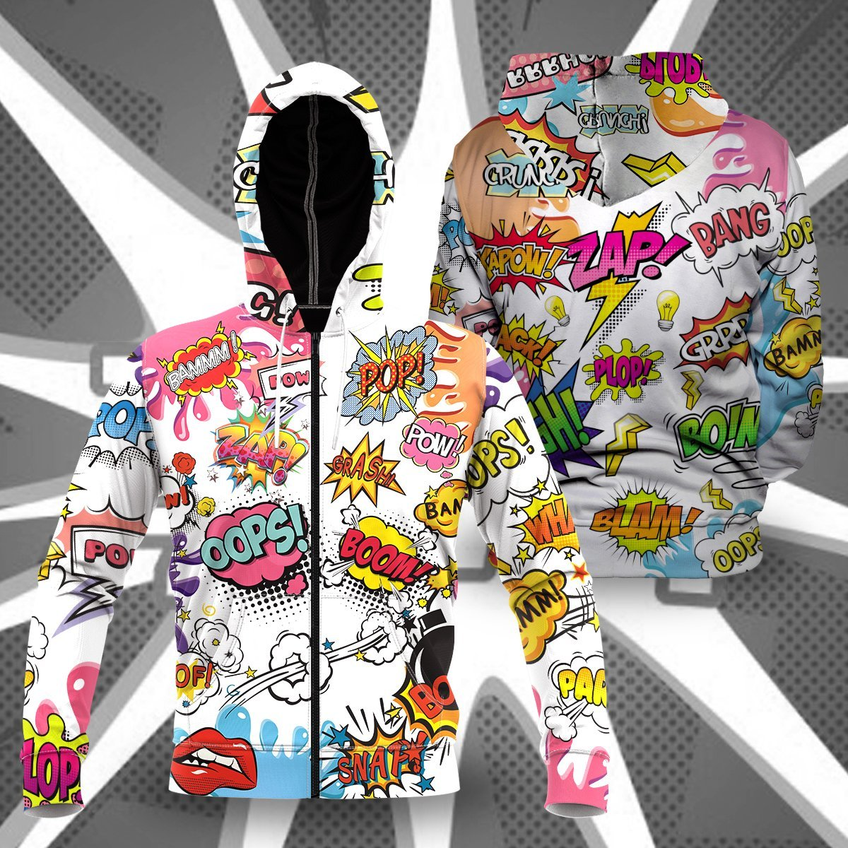 Comic Sound Effects Unisex Zipped Hoodie S Zip