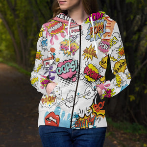 Comic Sound Effects Unisex Zipped Hoodie Zip