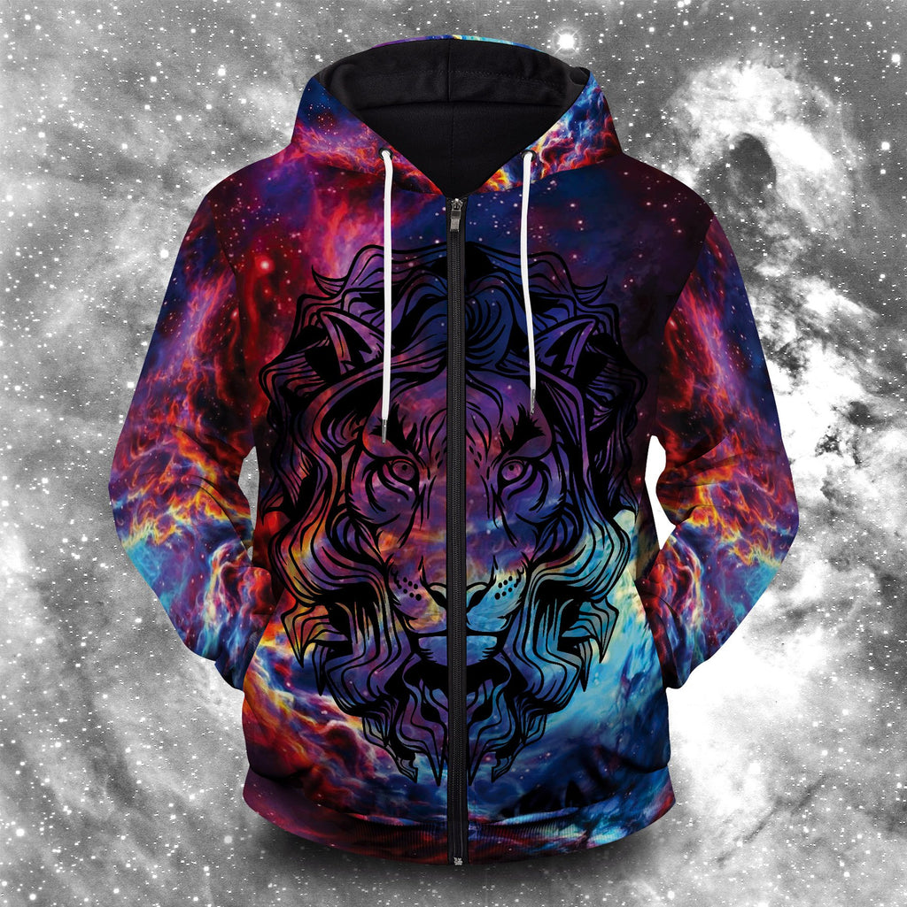 Lion Psychedelic Unisex Zipped Hoodie