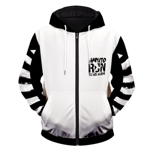 Naruto Run To See Aliens Unisex Zipped Hoodie