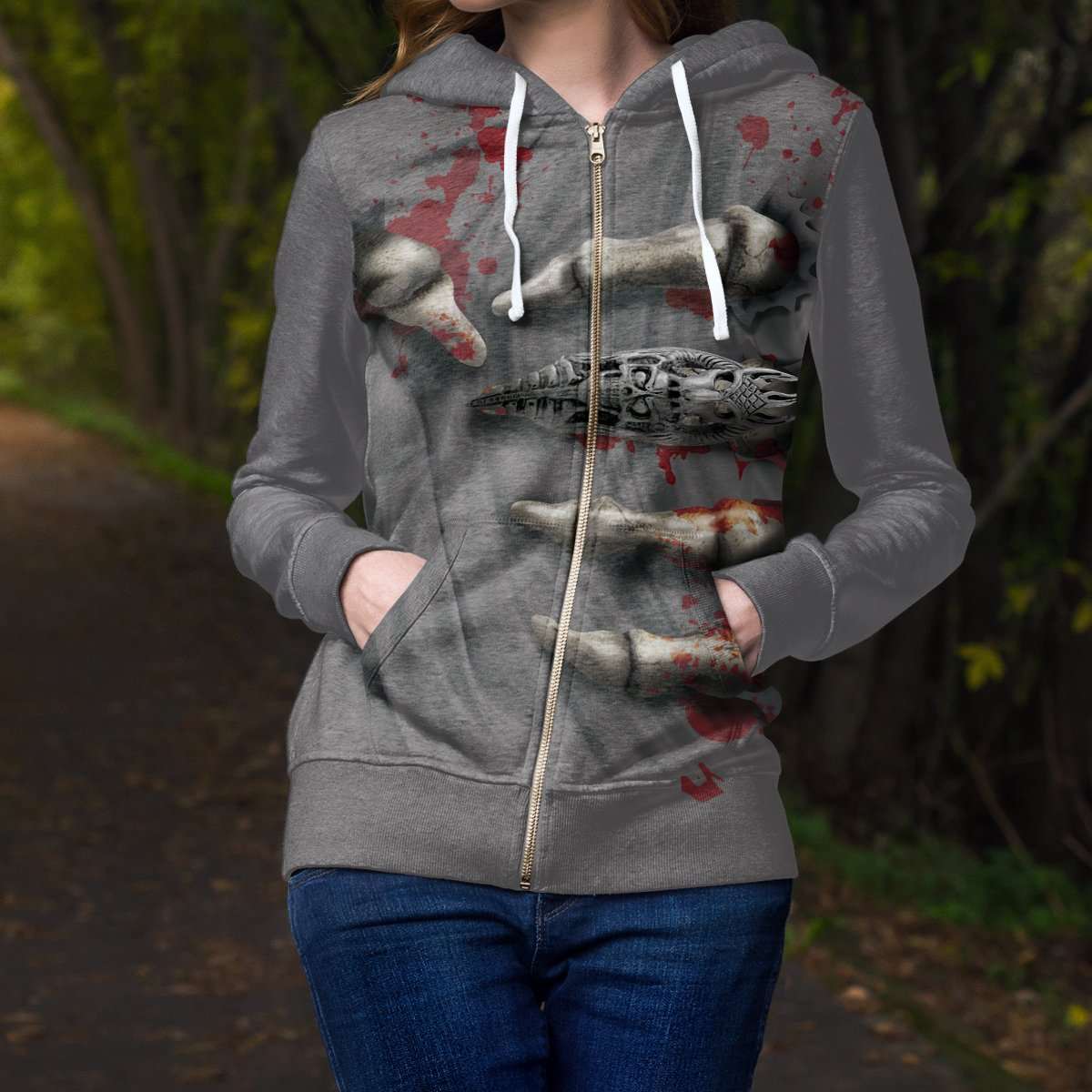 Skeleton Grip Unisex Zipped Hoodie Zip