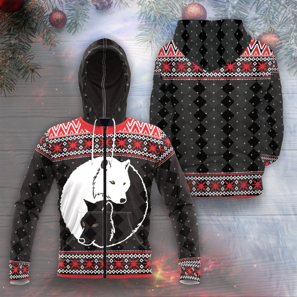 Yin Yang Holiday Wolves Unisex Zipped Hoodie S Zip