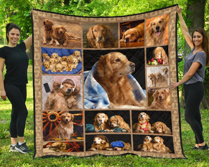 Golden Retriever Dog Quilt Blanket Gift