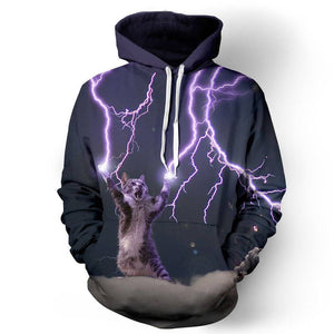 Kitten With Lightning Bolt Unisex Pullover Hoodie M