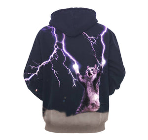 Kitten With Lightning Bolt Unisex Pullover Hoodie