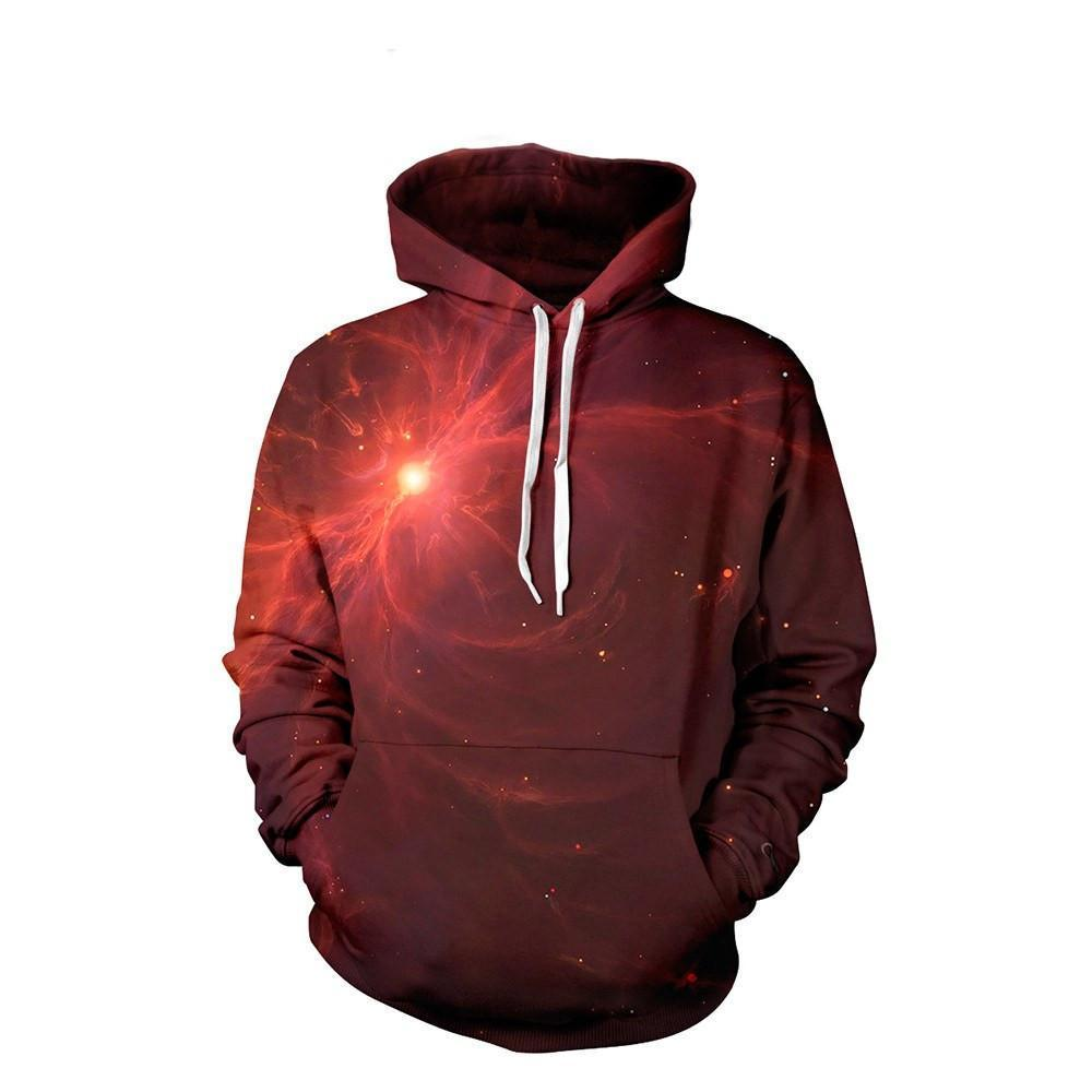 Red Nebula Unisex Pullover Hoodie M