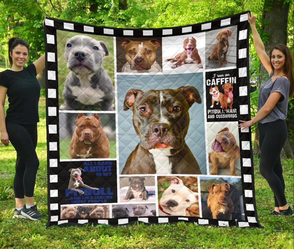 Pitbull Dog Quilt Blanket For Who Love Pitbull