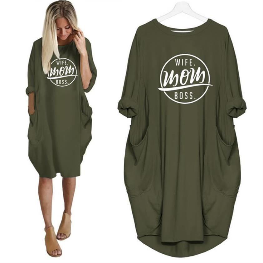 Wife Mom Boss Dress Green / S