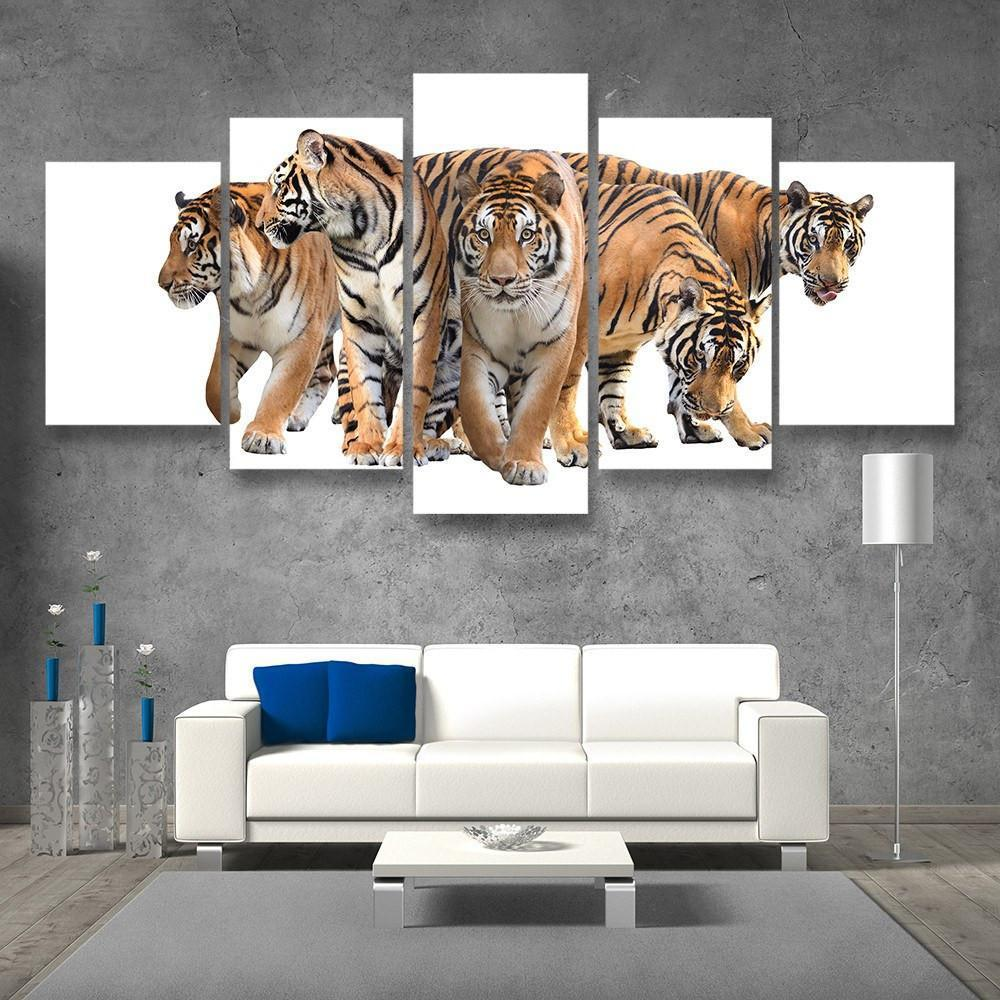 Bengal Tigers 5 Piece Canvas Small / No Frame Wall