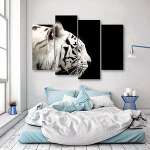 Bengal White Tiger 4 Piece Canvas Small / No Frame Wall