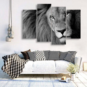 Big Lion 4 Piece Canvas Small / No Frame Wall