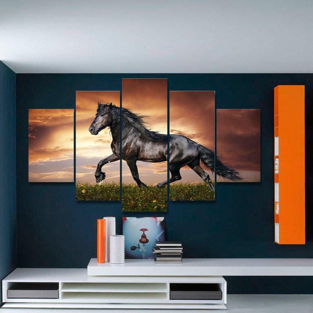 Black Beauty 2 5 Piece Canvas Small / No Frame Wall