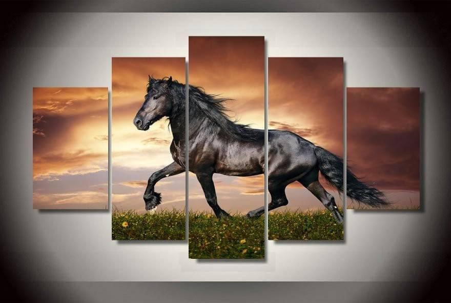 Black Beauty 2 5 Piece Canvas Wall